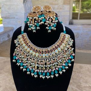 New kundan pearl necklace &earring set gold plated